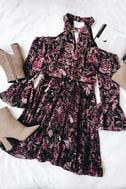 Safia Plum Purple Velvet Floral Print Cold-Shoulder Skater Dress 6