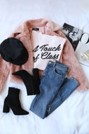 Cozy Business Blush Pink Faux Fur Moto Jacket 6