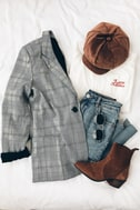 Day by Day Black and White Plaid Blazer 5