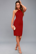 Be My Baby Wine Red Bodycon Midi Dress 5