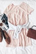 Shift and Shout Blush Pink Shift Dress 8