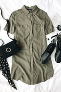 Oxford Comma Olive Green Shirt Dress 5