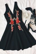 Romantic Rose Black Embroidered Skater Dress 5