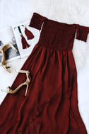 Tranquility Wine Red Satin Off-the-Shoulder Dress 5