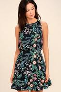 Take Me Oasis Black Floral Print Skater Dress