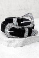 Dearheart Black and Silver Double Buckle Belt