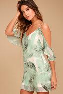Radiate Positivity Sage Green Print Off-the-Shoulder Dress