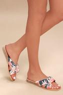 Lulus Haviva Coral Multi Knotted Slide Sandal Heels - Lulus t2ZOrs