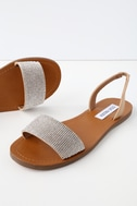 Rock Tan Rhinestone Flat Sandals by Lulu's