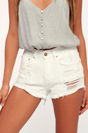 Drift Away White Distressed Denim Cutoff Shorts by Lulu's