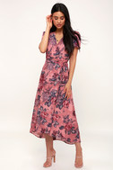 Lorna Mauve Pink Floral Print Midi Wrap Dress by Lulu's