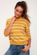 Armed Mustard Yellow Striped Sweater Top by Lulu's