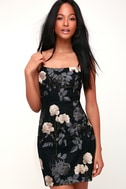 Elston Black Floral Embroidered Bodycon Dress