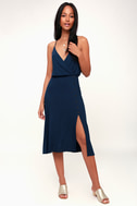 Palm Tree Breeze Navy Blue Ribbed Midi Dress by Lulu's