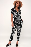 Avant Garden Black And White Floral Print Jumpsuit by Lulu's