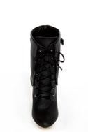 Fahrenheit Lolita 03 Black Lace-Up Cutout Wedge Booties