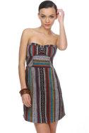 Ixchel Print Strapless Dress