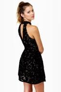 Velvet-iculture Black Halter Dress