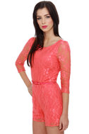 Lace to the Finish Coral Lace Romper