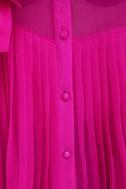 Pleat and Greet Fuchsia Silk Top