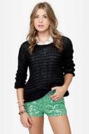 Dance-a-thon Mint Green Sequin Shorts
