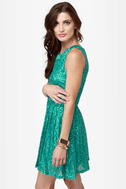 Seven Sea-quins Teal Sequin Dress