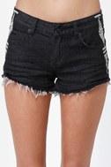 Billabong Lowah Embroidered Black Jean Shorts