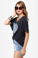Billabong Heart You and Me Grey Print Top