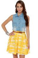 Collective Concepts Solarium Yellow Print Skirt