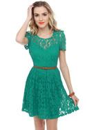 Floral Engagement Teal Lace Dress