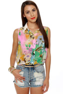 Cutting Room Floral Print Top