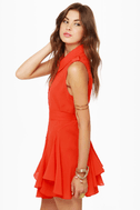American Flare-lines Coral Red Dress