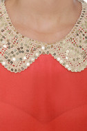 Wake-Up Collar Coral Red Top