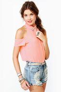 Glamorama Sheer Coral Pink Top