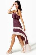 Merrily Rolling Along High Low Purple Dress