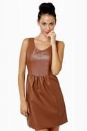 Animal Instincts Brown Vegan Leather Dress