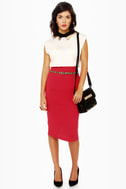 Pencil Me In Red Pencil Skirt