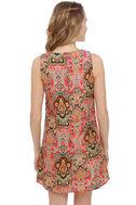East Meets Best Red Print Dress