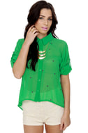 All That! Green Button-Up Top