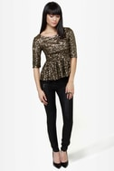 Party Topper Gold Sequin Top