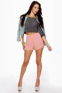 Susie Cutie Peach High-Waisted Shorts