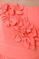 Par for the Corsage Strapless Coral Dress
