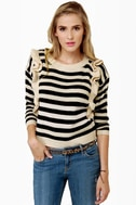 Lucca Couture Knits End Striped Sweater