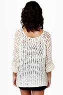 Mesh-merize Open-Knit Cream Sweater