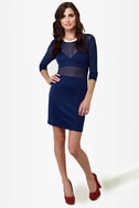 Meshy Business Cutout Blue Dress