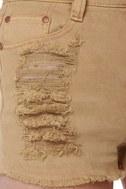 Mink Pink Runaway Slashed Brown Denim Shorts