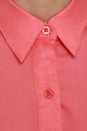 Mink Pink First Love Coral Shirt Dress