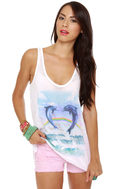 Local Celebrity Dolphin Jump White Tank Top