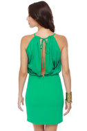 Wild Life Preserved Green Halter Dress