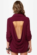 Holla Backless Young\\\\\\\\\\\\\\\'n Sheer Burgundy Top